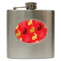 Hare Easter Pattern Animals Hip Flask (6 Oz)