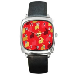 Hare Easter Pattern Animals Square Metal Watch