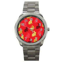 Hare Easter Pattern Animals Sport Metal Watch