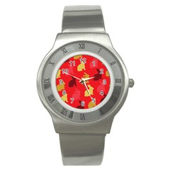 Hare Easter Pattern Animals Stainless Steel Watch