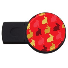 Hare Easter Pattern Animals Usb Flash Drive Round (4 Gb)