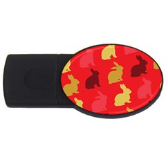 Hare Easter Pattern Animals Usb Flash Drive Oval (4 Gb)