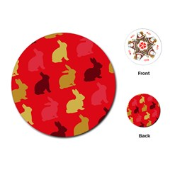 Hare Easter Pattern Animals Playing Cards (round)