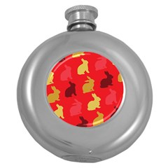 Hare Easter Pattern Animals Round Hip Flask (5 Oz)
