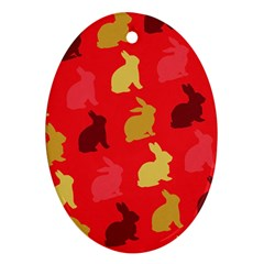 Hare Easter Pattern Animals Oval Ornament (Two Sides)