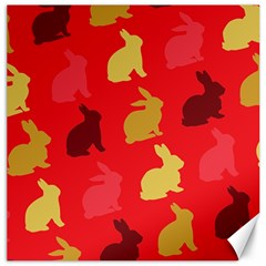 Hare Easter Pattern Animals Canvas 16  X 16