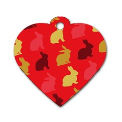 Hare Easter Pattern Animals Dog Tag Heart (one Side)