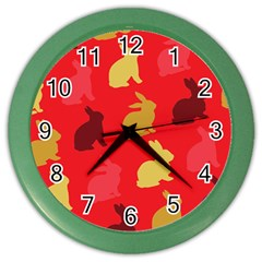 Hare Easter Pattern Animals Color Wall Clocks