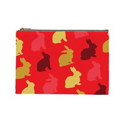 Hare Easter Pattern Animals Cosmetic Bag (Large)