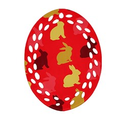 Hare Easter Pattern Animals Ornament (oval Filigree)