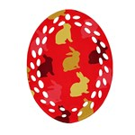 Hare Easter Pattern Animals Oval Filigree Ornament (Two Sides) Front