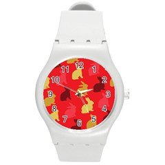 Hare Easter Pattern Animals Round Plastic Sport Watch (m)