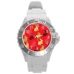 Hare Easter Pattern Animals Round Plastic Sport Watch (l)