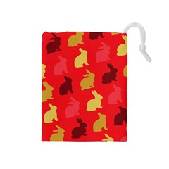 Hare Easter Pattern Animals Drawstring Pouches (medium)