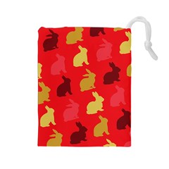 Hare Easter Pattern Animals Drawstring Pouches (large)
