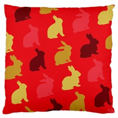 Hare Easter Pattern Animals Large Flano Cushion Case (two Sides)