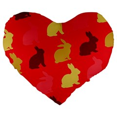 Hare Easter Pattern Animals Large 19  Premium Flano Heart Shape Cushions