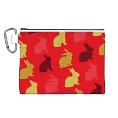 Hare Easter Pattern Animals Canvas Cosmetic Bag (l)