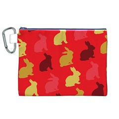 Hare Easter Pattern Animals Canvas Cosmetic Bag (xl)
