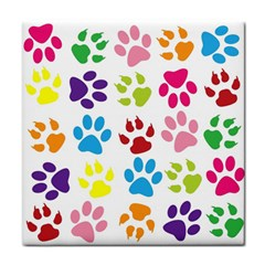 Paw Print Paw Prints Background Tile Coasters