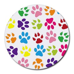 Paw Print Paw Prints Background Round Mousepads