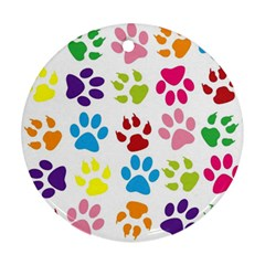 Paw Print Paw Prints Background Ornament (round)