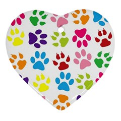 Paw Print Paw Prints Background Ornament (heart)