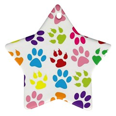 Paw Print Paw Prints Background Ornament (star)