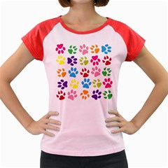 Paw Print Paw Prints Background Women s Cap Sleeve T Shirt