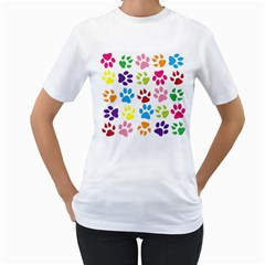Paw Print Paw Prints Background Women s T-Shirt (White) (Two Sided)