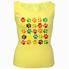 Paw Print Paw Prints Background Women s Yellow Tank Top