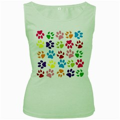 Paw Print Paw Prints Background Women s Green Tank Top