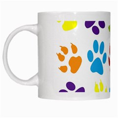 Paw Print Paw Prints Background White Mugs