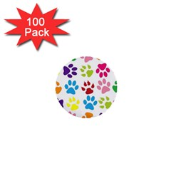Paw Print Paw Prints Background 1  Mini Buttons (100 pack)