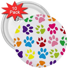 Paw Print Paw Prints Background 3  Buttons (10 Pack)