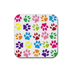 Paw Print Paw Prints Background Rubber Coaster (square)