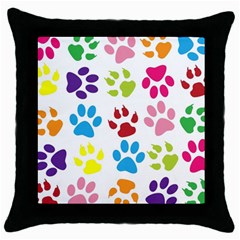 Paw Print Paw Prints Background Throw Pillow Case (Black)