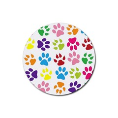 Paw Print Paw Prints Background Rubber Round Coaster (4 Pack)