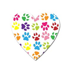Paw Print Paw Prints Background Heart Magnet