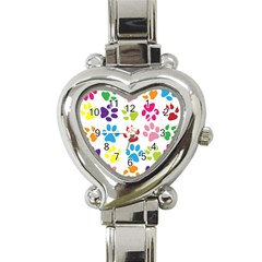 Paw Print Paw Prints Background Heart Italian Charm Watch