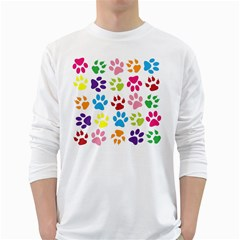 Paw Print Paw Prints Background White Long Sleeve T Shirts