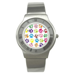Paw Print Paw Prints Background Stainless Steel Watch