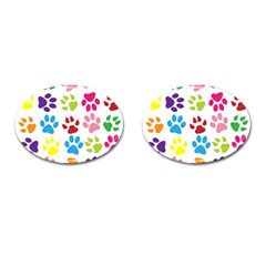 Paw Print Paw Prints Background Cufflinks (oval)
