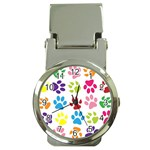 Paw Print Paw Prints Background Money Clip Watches Front