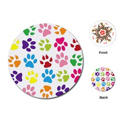 Paw Print Paw Prints Background Playing Cards (round)
