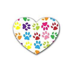 Paw Print Paw Prints Background Heart Coaster (4 Pack)