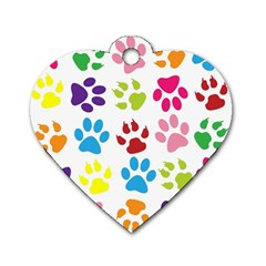 Paw Print Paw Prints Background Dog Tag Heart (one Side)
