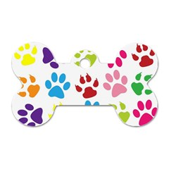 Paw Print Paw Prints Background Dog Tag Bone (one Side)