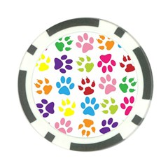 Paw Print Paw Prints Background Poker Chip Card Guard