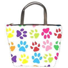 Paw Print Paw Prints Background Bucket Bags